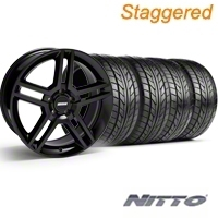 Staggered Black 2010 GT500 Wheel & NITTO Tire Kit - 18x9/10 (99-04) - AmericanMuscle Wheels KIT||28219||76013||28222||76003