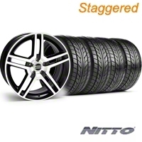 Staggered Black Machined 2010 GT500 Wheel & NITTO Tire Kit - 18x9/10 (99-04) - AmericanMuscle Wheels KIT||28221||76013||28224||76003