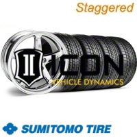 Staggered Chrome 1995 Style Cobra R Wheel & Sumitomo Tire Kit - 17x9/10.5 (99-04) - AmericanMuscle Wheels KIT||28007||63000||28015||63003