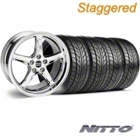 Staggered Chrome 1995 Style Cobra R Wheel & NITTO Tire Kit - 18x9/10 (99-04) - AmericanMuscle Wheels KIT||10097||76013||10098||76003