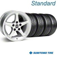 Silver 1995 Style Cobra R Wheel & Sumitomo Tire Kit - 16x8 (99-04) - AmericanMuscle Wheels KIT||28033||63031