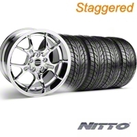 Staggered Chrome GT4 Wheel & NITTO Tire Kit - 18x9/10 (99-04) - AmericanMuscle Wheels KIT||28133||76013||28147||76003