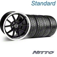 Black GT4 Wheel & NITTO Tire Kit - 18x9 (99-04) - AmericanMuscle Wheels KIT||28132||76013