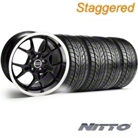 Staggered Black GT4 Wheel & NITTO Tire Kit - 18x9/10 (99-04) - AmericanMuscle Wheels KIT||28132||76013||28146||76003