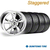Staggered Bullitt Chrome Wheel & Sumitomo Tire Kit - 20x8.5/10 (05-10 GT, V6) - American Muscle Wheels 28037||28048||63024||63025||KIT