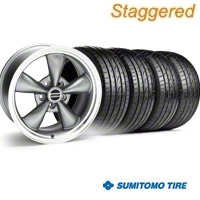 Staggered Anthracite Bullitt Wheel & Sumitomo Tire Kit - 20x8.5/10 (05-14) - AmericanMuscle Wheels KIT||28035||63024||28049||63025