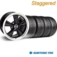 Staggered Bullitt Black Wheel & Sumitomo Tire Kit - 20x8.5/10 (05-14 V6; 05-10 GT) - American Muscle Wheels 28036||28047||63024||63025||KIT