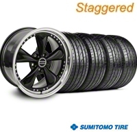 Staggered Bullitt Motorsport Black Wheel & Sumitomo Tire Kit - 20x8.5/10 (05-14) - American Muscle Wheels 10084||10085||63024||63025||KIT