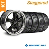 Staggered Black Bullitt Motorsport Wheel & Sumitomo Tire Kit - 20x8.5/10 (05-14) - AmericanMuscle Wheels KIT||10084||63024||10085||63025