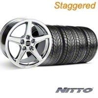 Staggered Chrome Saleen Style Wheel & NITTO Tire Kit - 18x9/10 (05-14) - AmericanMuscle Wheels KIT||28251||63008||28059||63009
