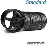 Black Saleen Style Wheel & NITTO Tire Kit - 18x9 (05-14 All, Excluding GT500) - AmericanMuscle Wheels KIT||28252||63008