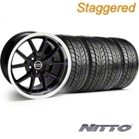 Staggered FR500 Style Black Wheel & NITTO Tire Kit - 18x9/10 (05-14) - American Muscle Wheels 10070||28272||63008||63009||KIT
