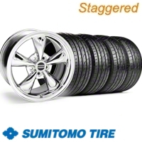 Staggered Chrome Bullitt Wheel & Sumitomo Tire Kit - 20x8.5/10 (10-12)