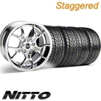 Staggered Chrome GT4 Wheel & NITTO Tire Kit - 18x9/10 (10-12)
