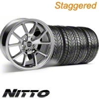 Staggered Chrome FR500 Style Wheel & NITTO Tire Kit - 18x9/10 (10-12)
