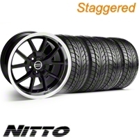Staggered Black FR500 Style Wheel & NITTO Tire Kit - 18x9/10 (10-12)
