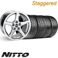 Staggered Chrome Saleen Wheel & NITTO Tire Kit - 18x9/10 (10-12)