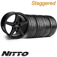 Staggered Black Saleen Wheel & NITTO Tire Kit - 18x9/10 (10-12)