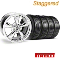 Staggered Bullitt Chrome Wheel & Pirelli Tire Kit - 19x8.5/10 (05-14 GT, V6) - American Muscle Wheels 1119-916548CM||1119-986530BM||28249||28249G05||28250||28250G05||445HR90NASXL||63101||63102||74HR90NASXL||KIT