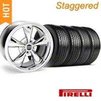 Staggered Chrome Bullitt Wheel & Pirelli Tire Kit - 19x8.5/10 (05-14) - AmericanMuscle Wheels KIT||28249||28249G05||1119-986530BM||28250||28250G05||1119-916548CM||63101||445HR90NASXL||63102||74HR90NASXL