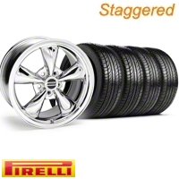 Staggered Chrome Bullitt Wheel & Pirelli Tire Kit - 19x8.5/10 (10-12)