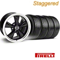 Staggered Black Bullitt Wheel & Pirelli Tire Kit - 19x8.5/10 (05-14) - AmericanMuscle Wheels KIT||28247||28247G05||1119-986530BM||28248||28248G05||1119-916548BM||63101||445HR90NASXL||63102||74HR90NASXL