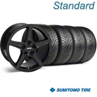 Black Saleen Style Wheel & Sumitomo Tire Kit - 18x9 (99-04) - AmericanMuscle Wheels 28074||63016