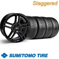 Staggered Black GT500 Wheel & Sumitomo Tire Kit - 18x9/10 (11-12)