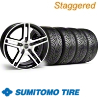 Staggered Black Machined GT500 Wheel & Sumitomo Tire Kit - 18x9/10 (11-12)