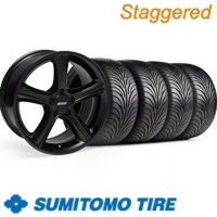 Staggered Black GT Premium Wheel & Sumitomo Tire Kit - 18x9/10 (11-12)