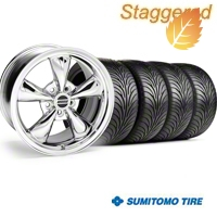 Staggered Bullitt Chrome Wheel & Sumitomo Tire Kit - 18x9/10 (05-14) - American Muscle Wheels 28265G05||28268||63008||63009||KIT