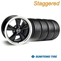 Staggered Black Bullitt Wheel & Sumitomo Tire Kit - 18x9/10 (05-14) - AmericanMuscle Wheels KIT||28264G05||28267||63008||63009