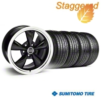 Staggered Bullitt Black Wheel & Sumitomo Tire Kit - 18x9/10 (05-14) - American Muscle Wheels 28264G05||28267||63008||63009||KIT