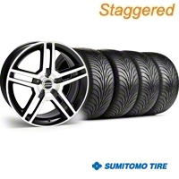 Staggered 2010 GT500 Black Machined Wheel & Sumitomo Tire Kit - 18x9/10 (05-14) - American Muscle Wheels KIT