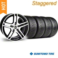 Staggered Black Machined GT500 Wheel & Sumitomo Tire Kit - 18x9/10 (05-14) - AmericanMuscle Wheels KIT||28221||28227||63008||63009
