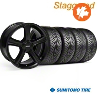 Staggered Black GT Premium Wheel & Sumitomo Tire Kit - 18x9/10 (05-14) - AmericanMuscle Wheels KIT||28210||28216||63008||63009