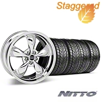 Staggered Bullitt Chrome Wheel & NITTO Tire Kit - 17x9/10.5 (99-04) - American Muscle Wheels 28115||28262||76000||76014