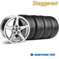 Staggered Chrome Saleen Style Wheel & Sumitomo Tire Kit - 18x9/10 (99-04) - AmericanMuscle Wheels 28067||28251||63006||63016