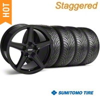Staggered Black Saleen Style Wheel & Sumitomo Tire Kit - 18x9/10 (99-04) - AmericanMuscle Wheels 28075||28252||63006||63016