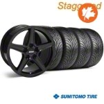 Staggered Saleen Black Wheel & Sumitomo Tire Kit - 18x9/10 (99-04) - American Muscle Wheels 63016