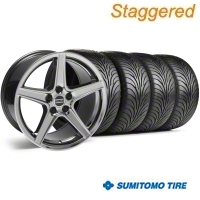 Staggered Black Chrome Saleen Style Wheel & Sumitomo Tire Kit - 18x9/10 (99-04) - AmericanMuscle Wheels 10105||10106||63006||63016