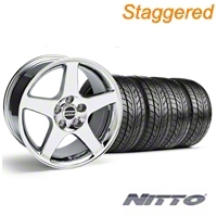 Staggered 2003 Cobra Chrome Wheel & NITTO Tire Kit - 17x9/10.5 (99-04) - American Muscle Wheels 76014