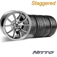 Staggered Chrome FR500 Wheel & NITTO Tire Kit - 17x9/10.5 (99-04) - AmericanMuscle Wheels 28094||28095||76000||76014