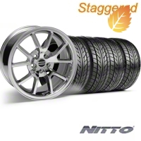 Staggered FR500 Chrome Wheel & NITTO Tire Kit - 17x9/10.5 (99-04) - American Muscle Wheels 28094||28095||76000||76014