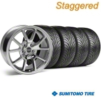 Staggered Chrome FR500 Wheel & Sumitomo Tire Kit - 18x9/10 (99-04) - AmericanMuscle Wheels 28103||28273||63006||63016
