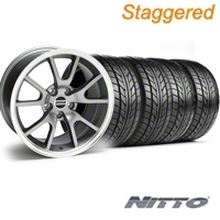 Staggered Anthracite FR500 Wheel & NITTO Tire Kit - 17x9/10.5 (99-04) - AmericanMuscle Wheels 28090||28091||76000||76014