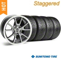 Staggered Anthracite FR500 Wheel & Sumitomo Tire Kit - 18x9/10 (99-04) - AmericanMuscle Wheels 28099||28274||63006||63016