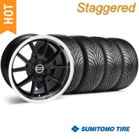 Staggered Black FR500 Wheel & Sumitomo Tire Kit - 18x9/10 (99-04) - AmericanMuscle Wheels 28101||28272||63006||63016