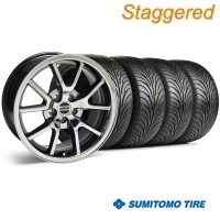 Staggered Black Chrome FR500 Wheel & Sumitomo Tire Kit - 18x9/10 (99-04) - AmericanMuscle Wheels 10103||10104||63006||63016