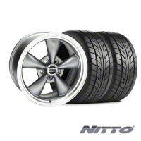 Anthracite Bullitt Wide Rear Wheel & NITTO Tire Kit - 17x10.5 - Rear Only (99-04) - AmericanMuscle Wheels 28111||76014